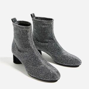 ZARA Sock Style Glitter Boots